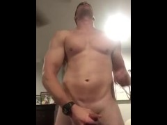 Police officer jerking that dick and blowing his load