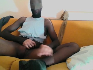 YOUNG GUY IN BROWN PANTYHOSE ENCASEMENT AND SNEAKERS MASTURBATING