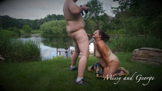 """""""PREVIEW"""" HORNY WIFE SUCKS HUSBANDS COCK OUTDOORS NUDE IN FULL VIEW"""
