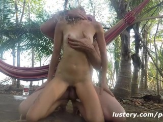 Sexy flight attendant kinky couple outdoor sex on hammock lustery bdsm kink rough big cock ou