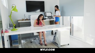 MYLF - Mature Lesbian Boss Fucks Young Teen Employee Big stockings