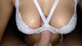 Titfuck natural made with beautiful a breasts of bra perfect cum