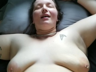 Collared slave with big bouncing floppy tits