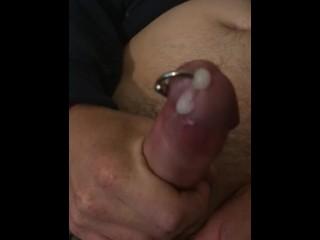Husband having a wank and cumming