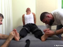 Jock bare feet tormented roughly in a spectacular threesome