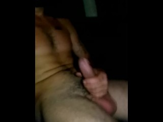 Stroking big white cock