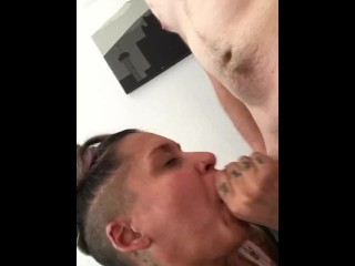 Master cock sucker tattooed chick demonstrates how with a big veiny cock