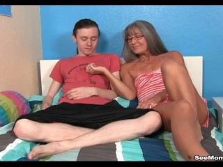Preview 1 of Milf Empties Step-sons Balls Sucking His Thick Cock