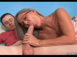 Preview 4 of Milf Empties Step-sons Balls Sucking His Thick Cock