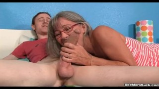 Preview 5 of Milf Empties Step-sons Balls Sucking His Thick Cock