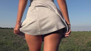 Teasing With My Big Ass While Peeing In Grey Panties Outdoor - 4K Panty Pee Uncencord tits