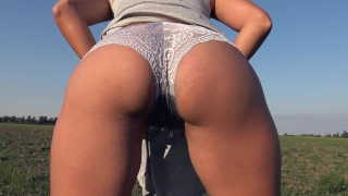 Teasing With My Big Ass While Peeing In Grey Panties Outdoor - 4K Panty Pee porno