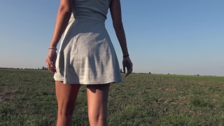Teasing With My Big Ass While Peeing In Grey Panties Outdoor - 4K Panty Pee Up oral