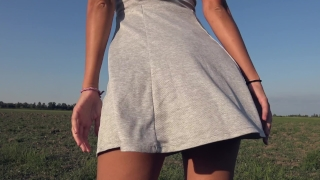 Teasing With My Big Ass While Peeing In Grey Panties Outdoor - 4K Panty Pee Dick couple