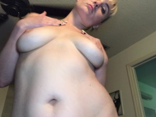 Rubbing lotion on my pale natural tits