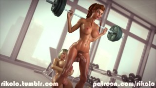 Brigitte and Rikolo's Sarah have fun in gym Cumshot ffm
