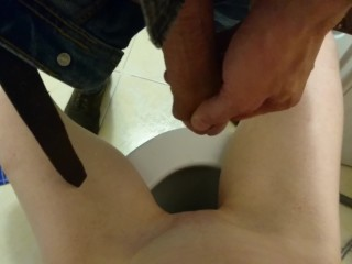 Pissing quickie in bathroom guy pissing on girl sitting on toilet