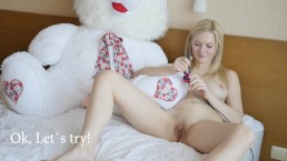 Super cute 18yo Kate S trying vibrator for the first time in her life