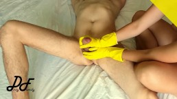 Cock massage in yellow ribbed gloves, slow handjob ~DirtyFamily~