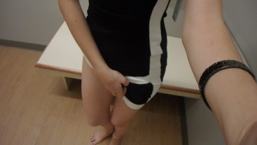 Horny teen touching herself in fitting room