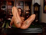 Tori Black makes herself cum on pool table