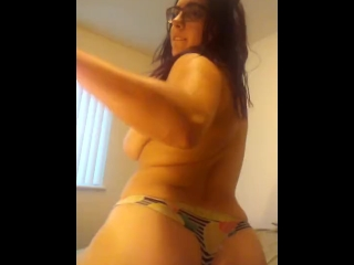 Slut teases her pussy so she can slam it on big dildo -- see next video
