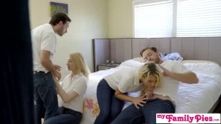 StepSiblings Orgy Fuck In Front Of StepMom - MyFamilyPies S3:E4 Shaved orgasm