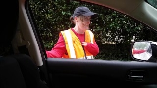 Delivery / Postal Girl Gets Cash for Public Sex & Cum Swallow