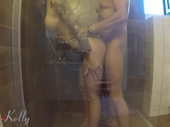 Hot busty babe caught and fucked in the hotel shower room. WetKelly