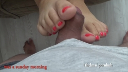 Quickie first footjob whit huge cum Amateure 4k