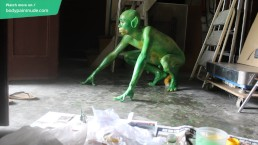 Gay Teen Bodypaint / 19 Years Old Boy Turned into Miserable Green Beast #1
