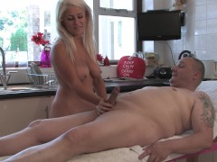 Busty Lu Enjoys Beefy`s New Massage Table - Teaser
