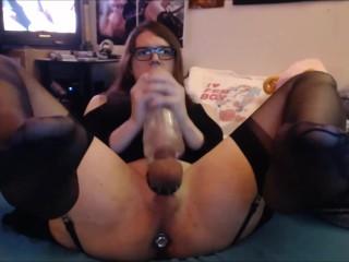 Horny Femboy Slut Fucks Fleshlight and Eats Cum