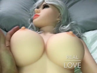 Playing with Big Realistic Silicone Tits
