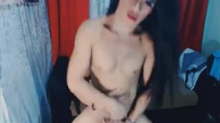 Hole banged asian gets horny her tranny sexy off jerking