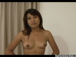 Hairy Asian cutie has her tight pussy stuffed by a white cock
