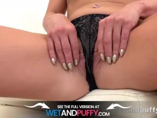Wetandpuffy - Hot blonde orgasms hard with a glass dildo!