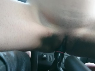 First time sex with gearshift: girl car fuck quickie