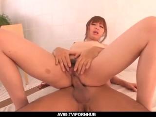 Real Japanese home romance with hairy Anri Hoshiza - More at 69avs.com