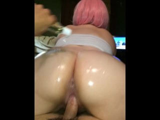POV Reverse Cowgirl Lubed Big Ass Pretty in Pink