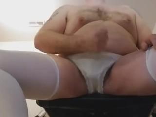 Wearing my wife's panties and masturbating Part1