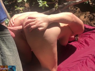 Horny blonde homeless girl fucked and facialized in the woods