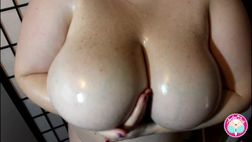 Arden Jade's Huge Tits Covered in Oil Bouncing and Playing