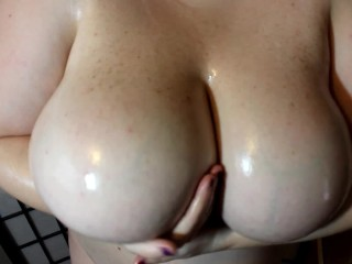 Arden Jades Huge Tits Covered in Oil Bouncing and Playing