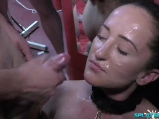 Sweet Englihs slut takes facials in bukkake party