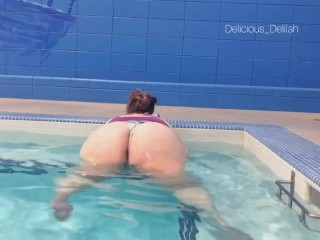 Playing in the gym's hot tub