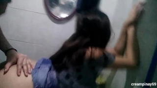 Pinay Fucked and Creampied in Public Toilet  horny couple kantot creampie couple pinoy amateur scandal public pinay sarap doggy sex horny libog cum inside