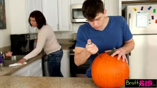 Bratty sis She caught her brother fucking a pumpkin Doggystyle white