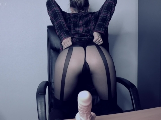 The Cumsultation. Relax in Lele's office.Sloppy dildo suck.Cum on boobs JOI