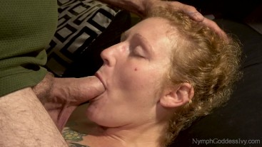 Natural Redhead Milf Ivy Face Fucked by Hubby with Throbbing Cum in Mouth